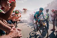 """Jakob Fuglsang (DEN/Astana) coming through """"Dutch Corner"""" (#7) on Alpe d'Huez<br /> <br /> Stage 12: Bourg-Saint-Maurice / Les Arcs > Alpe d'Huez (175km)<br /> <br /> 105th Tour de France 2018<br /> ©kramon"""