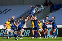 13th September 2020; AJ Bell Stadium, Salford, Lancashire, England; English Premiership Rugby, Sale Sharks versus Bath; Matt Postlethwaithe of Sale Sharks wins the line out
