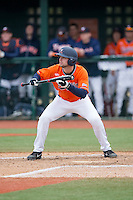 John La Prise (2) of the Virginia Cavaliers squares to bunt against the Seton Hall Pirates at The Ripken Experience on February 28, 2015 in Myrtle Beach, South Carolina.  The Cavaliers defeated the Pirates 4-1.  (Brian Westerholt/Four Seam Images)