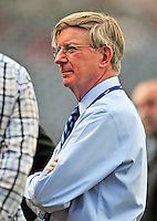 8 June 2010: Newspaper columnist, journalist, and author George Will awaits a Washington Nationals game against the Pittsburgh Pirates at Nationals Park in Washington, DC. The Nationals defeated the Pirates 5-2 in the series opener where pitching sensation Stephen Strasburg made his Major League debut, striking out 14 batters and notching his first win in the majors. Mandatory Credit: Ed Wolfstein Photo