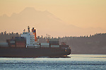 Container Ship, Kobe Express, Hapag Lloyd line, outbound for the Pacific Ocean, Mount Baker, Point Hudson, Puget Sound, Admiralty Inlet, Washington State, Pacific Northwest, USA,