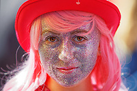 Pictured: A parade participant with glitter make-up. Saturday 04 May 2019<br /> Re: Swansea Pride Parade in south Wales, UK.