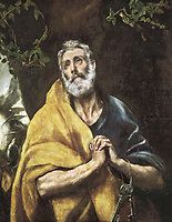 The Tears of Saint Peter. ca. 1594 - 1604. Mannerism art. Oil on canvas. SPAIN. Toledo. El Greco's House and Museum.