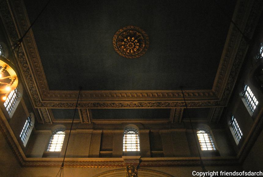 Nicholas Hawksmoor: St. George, Bloomsbury. Ceiling detail. Photo '90.