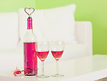 USA, Illinois, Metamora, Bottle and two glasses with rose wine