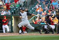 Jesse Gutierrez of the Louisville Bats at bat in front of catcher Jose Morales during a game against the Rochester Red Wings: June 16th, 2007 at Frontier Field in Rochester, NY.  Photo by Mike Janes/Four Seam Images