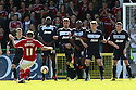 The Stevenage wall blocks a free-kick from Gary Roberts of Swindon. Swindon Town v Stevenage - npower League 1 -  County Ground, Swindon - 20th April, 2013. © Kevin Coleman 2013..