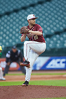 Florida State Seminoles relief pitcher Andrew Karp (19) in action against the Notre Dame Fighting Irish in Game Four of the 2017 ACC Baseball Championship at Louisville Slugger Field on May 24, 2017 in Louisville, Kentucky. The Seminoles walked-off the Fighting Irish 5-3 in 12 innings. (Brian Westerholt/Four Seam Images)