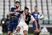 Nehuen Paz of Lecce and Cristiano Ronaldo of Juventus during the Serie A football match between Juventus FC and US Lecce at Juventus stadium in Turin  ( Italy ), June 26th, 2020. Play resumes behind closed doors following the outbreak of the coronavirus disease. Photo Andrea Staccioli / Insidefoto
