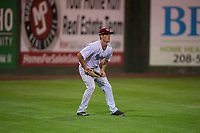 Idaho Falls Chukars left fielder Hunter Strong (3) during a Pioneer League game against the Great Falls Voyagers at Melaleuca Field on August 18, 2018 in Idaho Falls, Idaho. The Idaho Falls Chukars defeated the Great Falls Voyagers by a score of 6-5. (Zachary Lucy/Four Seam Images)