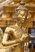 Bangkok, Thailand.  Kinnara, a Half-man, Half-bird Mythological Figure, Royal Grand Palace Compound.
