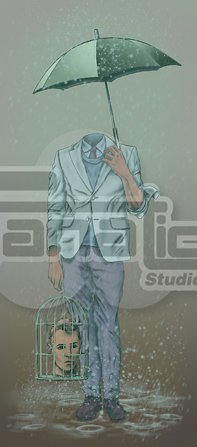 Headless man carrying his head in a birdcage