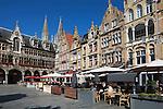 Belgium, West Vlaanderen, Ypres: Flemish gabled buildings with restaurants in Grote Markt, next to the Cloth Halls