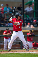 Mark Kolozsvary (4) of the Billings Mustangs at bat against the Missoula Osprey at Dehler Park on August 20, 2017 in Billings, Montana.  The Osprey defeated the Mustangs 6-4.  (Brian Westerholt/Four Seam Images)