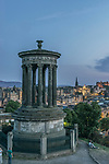Europe, Great Britain, Scotland, Edinburgh, Looking Down on the Stewart Monument & City From Calton Hill at Dusk