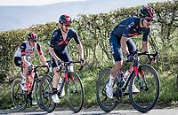 Richard Carapaz (ECU/INEOS Grenadiers), Adam yates (GBR/INEOS Grenadiers) & Tadej Pogačar (SVN/UAE-Emirates) up the Côte de La Redoute<br /> <br /> 107th Liège-Bastogne-Liège 2021 (1.UWT)<br /> 1 day race from Liège to Liège (259km)<br /> <br /> ©kramon