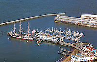 aerial photograph Hyde Street pier ship Balclutha San Francisco, California