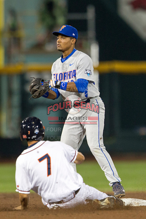 Florida Gators shortstop Richie Martin (12) at second base during the NCAA College baseball World Series against the Virginia Cavaliers on June 15, 2015 at TD Ameritrade Park in Omaha, Nebraska. Virginia defeated Florida 1-0. (Andrew Woolley/Four Seam Images)