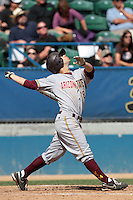 Joey DeMichele #18 of the Arizona State Sun Devils bats against the Long Beach State Dirtbags at Blair Field on March 11, 2012 in Long Beach,California. Arizona State defeated Long Beach State 6-1.(Larry Goren/Four Seam Images)