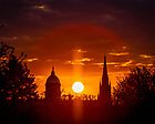 May 13, 2020; Sunrise behind the Dome and Basilica (Photo by Matt Cashore/University of Notre Dame)