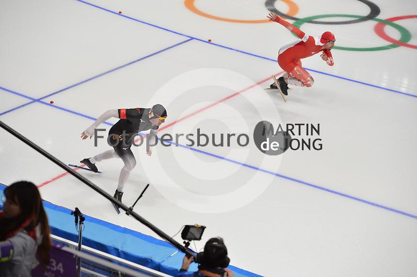 OLYMPIC GAMES: PYEONGCHANG: 19-02-2018, Gangneung Oval, Long Track, 500m Men, Nico Ihle (GER), Artur Was (POL), ©photo Martin de Jong