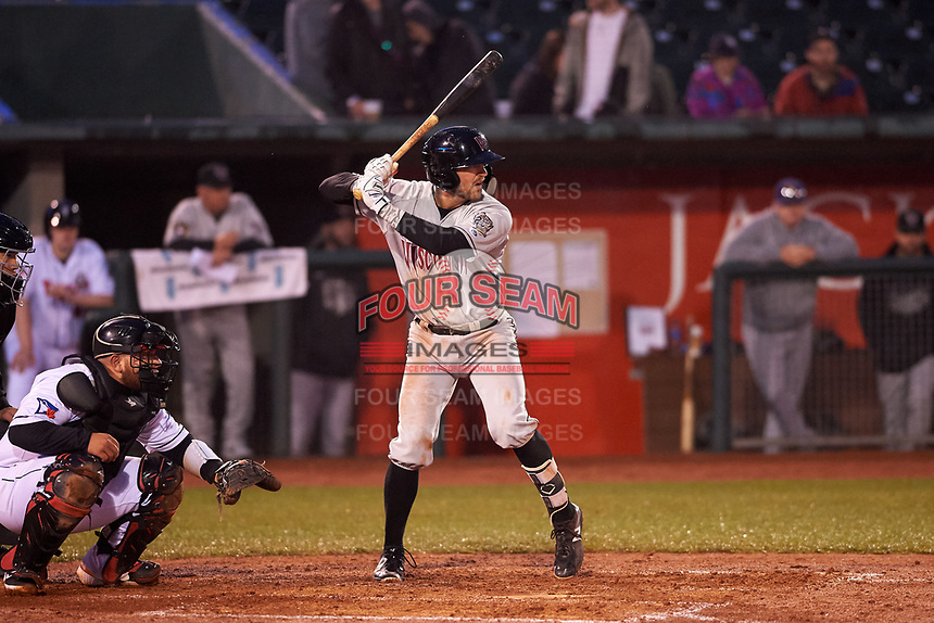 Wisconsin Timber Rattlers Connor McVey (6) at bat during a Midwest League game against the Lansing Lugnuts at Cooley Law School Stadium on May 2, 2019 in Lansing, Michigan. Lansing defeated Wisconsin 10-4. (Zachary Lucy/Four Seam Images)