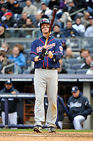 Apr 07, 2011; Bronx, NY, USA; Minnesota Twins infielder Justin Morneau (33) during game against the New York Yankees at Yankee Stadium. Yankees defeated the Twins 4-3. Mandatory Credit: Tomasso De Rosa/ Four Seam Images