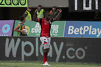 CUCUTA - COLOMBIA, 22-09-2019: Carmelo Valencia de Cúcuta celebra después de anotar el primer gol de su equipo durante partido entre Cúcuta Deportivo y Deportivo Cali por la fecha 12 de la Liga Águila II 2019 jugado en el estadio General Santander de la ciudad de Cúcuta. / Carmelo Valencia of Cucuta celebrates after scoring the first goal of his team during match between Cucuta Deportivo and Deportivo Cali for the date 12 of the Liga Aguila II 2019 played at the General Santander stadium in Cucuta city. Photo: VizzorImage / Manuel Hernandez / Cont