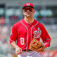 21 June 2015: Washington Nationals infielder Danny Espinosa trots back to the dugout during game action against the Pittsburgh Pirates at Nationals Park in Washington, DC. The Nationals defeated the Pirates 9-2 to sweep their 3-game weekend series, and improve their record to 37-33. Mandatory Credit: Ed Wolfstein Photo *** RAW (NEF) Image File Available ***