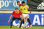 Spain's Jordi Alba (l) and Pedro Rodriguez (b) and Colombia's James Rodriguez during international friendly match. June 7,2017.(ALTERPHOTOS/Acero)