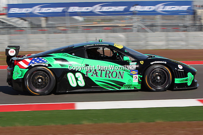 Mike Hedlund (03), Driver of Extreme Speed Motorsports Ferrari 458 in action during the Grand-Am of the Americas practice and qualifying sessions at the Circuit of the Americas race track in Austin,Texas...