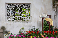 Suzhou, Jiangsu, China.  Floral Decoration with Fans, House of the Master of the Nets.