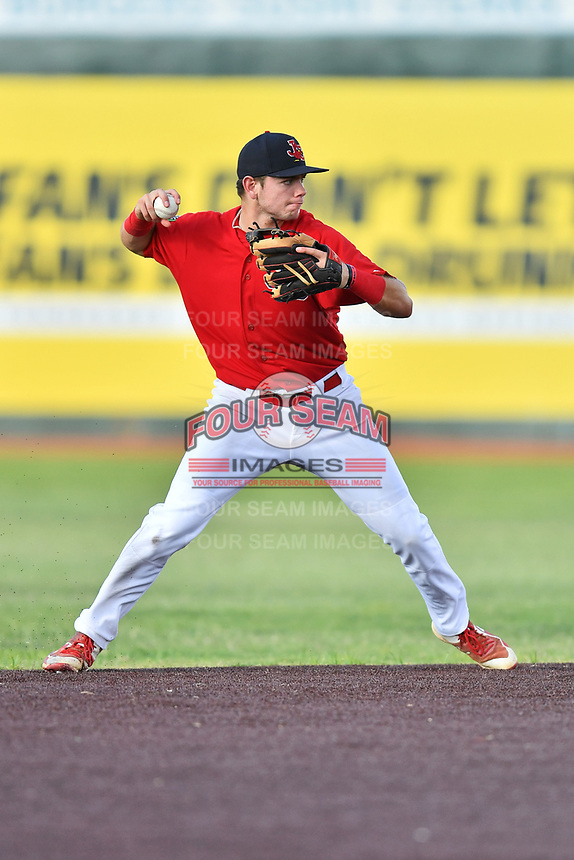 Johnson City Cardinals shortstop Mateo Gil (23) throws to first base during game three of the Appalachian League, West Division Playoffs against the Bristol Pirates at TVA Credit Union Ballpark on September 1, 2019 in Johnson City, Tennessee. The Cardinals defeated the Pirates 7-5 to win the series 2-1. (Tony Farlow/Four Seam Images)