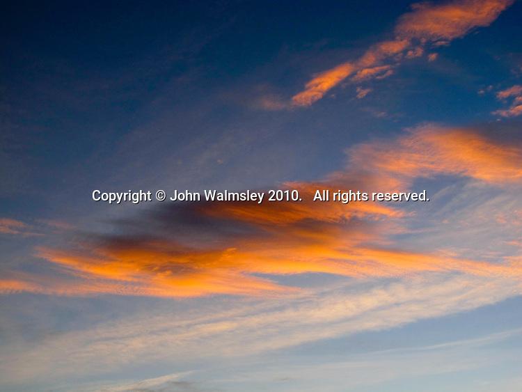 Cumulus clouds at dusk.