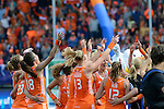 The Hague, Netherlands, June 14: Players of The Netherlands celebrates after winning the World Cup Trophy before the prize giving ceremony on June 14, 2014 during the World Cup 2014 at Kyocera Stadium in The Hague, Netherlands.  (Photo by Dirk Markgraf / www.265-images.com) *** Local caption ***