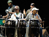 22/05/2006 Barbican Hall, London, England. Brazilian Mangue Beat band Nacao Zumbi; percussionists.