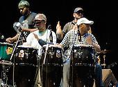 22/05/2006 Barbican Hall, London, England. Brazilian Mangue Beat band Nacao Zumbi; percussionists.