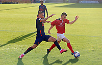 Crewe Alexandra's Tom Lowery under pressure from Blackpool's Jerry Yates<br /> <br /> Photographer Rich Linley/CameraSport<br /> <br /> The EFL Sky Bet League One - Crewe Alexandra v Blackpool - Saturday 17th October 2020 - Gresty Road - Crewe<br /> <br /> World Copyright © 2020 CameraSport. All rights reserved. 43 Linden Ave. Countesthorpe. Leicester. England. LE8 5PG - Tel: +44 (0) 116 277 4147 - admin@camerasport.com - www.camerasport.com