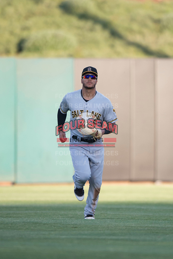 Salt Lake Bees center fielder Michael Hermosillo (6) jogs off the field between innings of a Pacific Coast League game against the Fresno Grizzlies at Chukchansi Park on May 14, 2018 in Fresno, California. Fresno defeated Salt Lake 4-3. (Zachary Lucy/Four Seam Images)