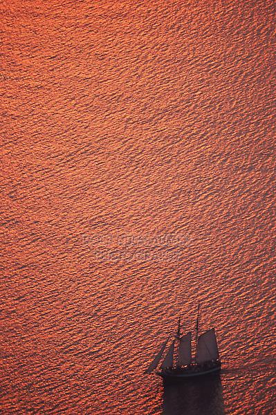 Sailing ship at sunset, Cyclades,  Santorin Greece, Greece, Europe