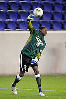 Connecticut Huskies goalkeeper Andre Blake (18). Connecticut defeated Louisville 1-0 during the first semifinal match of the Big East Men's Soccer Championships at Red Bull Arena in Harrison, NJ, on November 11, 2011.