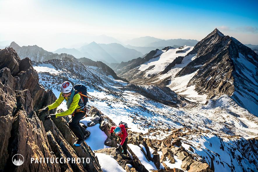 Climbing the south ridge of the 4000 meter Weissmies, Switzerland