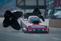 May 31, 2019; Joliet, IL, USA; NHRA funny car driver Bob Bode during qualifying for the Route 66 Nationals at Route 66 Raceway. Mandatory Credit: Mark J. Rebilas-USA TODAY Sports