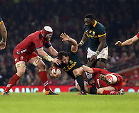 Pictured: Bismarck du Plessis of South Africa (with ball) is grabbed from behind by Gethin Jenkins of Wales, assisted by Jake Ball (L) Saturday 29 November 2014<br />