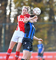 Charlotte Cranshoff of Standard (18) pictured in a fight for the ball with Frieke Temmerman (17 Brugge) during a female soccer game between Standard Femina de Liege and Club Brugge YLA on the seventh matchday of the 2020 - 2021 season of Belgian Scooore Womens Super League , saturday 14 th of November 2020  in Angleur , Belgium . PHOTO SPORTPIX.BE | SPP | DAVID CATRY