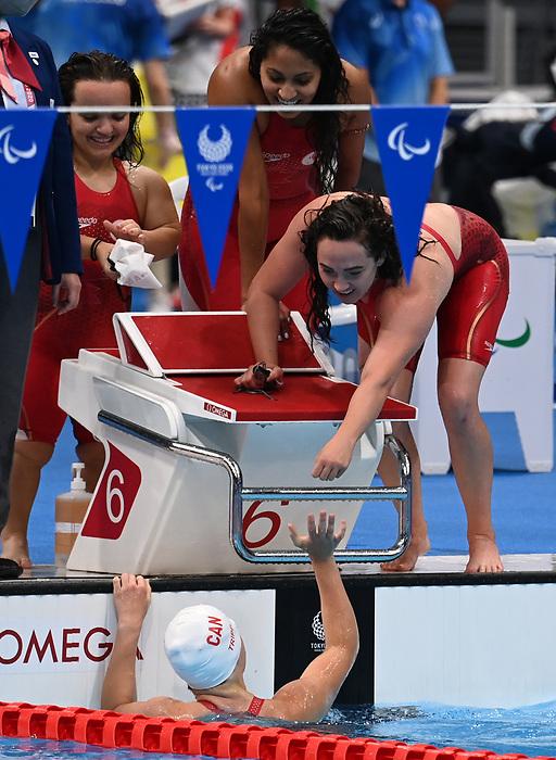 Morgan Bird, Danielle Kisser, Abi Tripp, and Katarina Roxon, Tokyo 2020 - Para Swimming // Paranatation.<br /> Canada competes in the women's 4x100m Medley Relay // Le Canada participe au relais 4x100m quatre nages féminin. 09/2/2021.