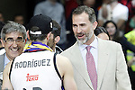 Real Madrid's Sergio Rodriguez celebrates with the King Felipe VI of Spain the victory in the Euroleague Final Match. May 15,2015. (ALTERPHOTOS/Acero)