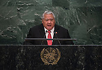 His Excellency Tuilaepa Sailele Malielegaoi, Prime Minister and Minister for Foreign Affairs and Trade of the Independent State of Samoa<br /> <br /> 6th plenary meeting High-level plenary meeting of the General Assembly (3rd meeting)