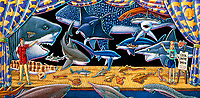 illustration, cool shark show, artists rendeitions of assorted extinct sharks, chimaeras and related cartilaginous fish based on fossils, prehistoric marine life