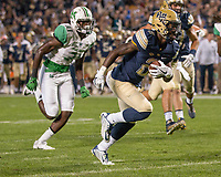Pitt running back Maurice Ffrench scores on a 11-yard touchdown run. The Pitt Panthers defeated the Marshall Thundering Herd 43-27 on October 1, 2016 at Heinz Field in Pittsburgh, Pennsylvania.